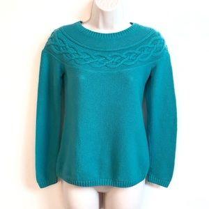 Talbots textured blue crew neck sweater xs